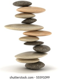 Extralarge resolution. Stability and Zen. Balanced stone tower over white