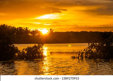 Extraordinary beautiful landscape overlooking the Amazon river at sunset. Amazon River. Manaus, Amazonas, Brazil