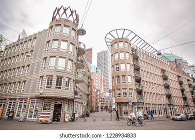 Extraordinary modern skyscrapers and buildings on the street. Amazing and inspirational hi tech architecture in The Hague, The Netherlands. 12 May 2018