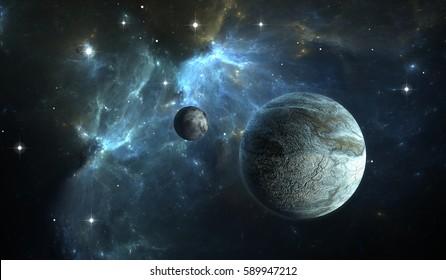 Extrasolar planet. Stone Planet with moon on background nebula. 3D illustration