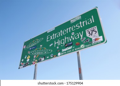 Extraterrestrial Highway road sign in Nevada, USA