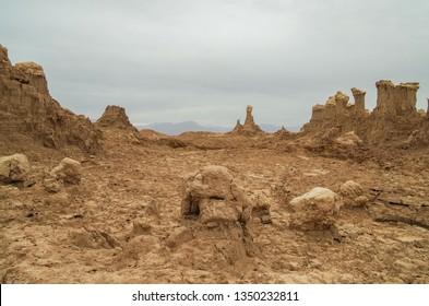 Extraterrestrial landscape. Bizarre land formations. Giant pillars of salt. Salt canyon near volcano Dallol. Hottest place on Earth. Ethiopia, Danakil Depression (Afar Triangle or Afar Depression)