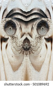 The extraterrestrial, strange or animal face in the wooden board