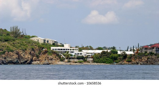 Extravagant houses line the shores of the US Virgin Islands. House seen here is located on St Thomas. This one was built by the founder of the White Castle hamburger chain.