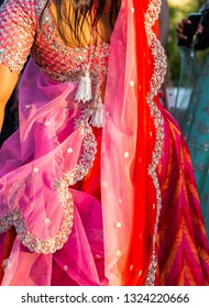 Extravagant sari dress worn by a guest at a wedding in India