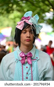 An extravagant teenager posing at the Gay Parade on Bratislava Rainbow Pride, on June 28, 2014 in Bratislava, Slovak Republic.