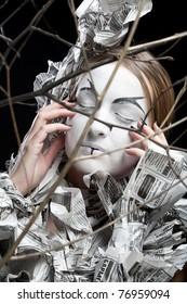 extravagant woman with dress paper news. Creative visage, Dark Side.