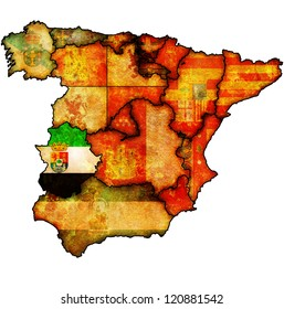 extremadura region on administration map of regions of spain with flags and emblems