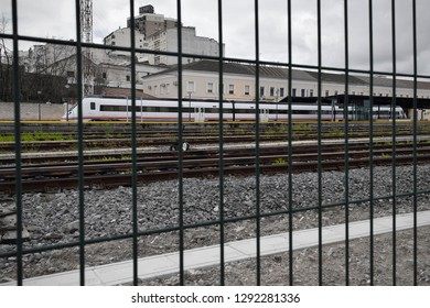 Mérida, Extremadura, Spain - 10 of January 2019: The railway in the region of Extremadura, Spain, has serious problems. Shot shows the train station of Mérida. It shows a  stopped Renfe train.