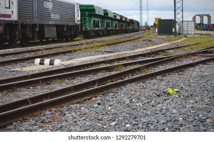 Mérida, Extremadura, Spain - 10 of September 2018: Railroad tracks and railway damaged and lack of maintenance. The shot shows Extremadura railway station, with many problems in their trains.