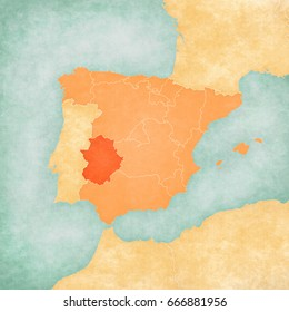 Extremadura (Spain) on the map of Iberian Peninsula in soft grunge and vintage style on old paper.
