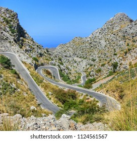 Extreme bendy en curvy road with hairpin turns on the island of Mallorca Spain