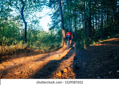 Extreme biker riding his bicycle downhill while wearing no safety equipment while hitting the brakes hard on a dirt trail.