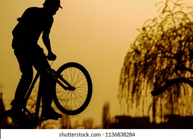 Extreme biker/Silhouette of a jumping biker on a mountain bike in an outdoor park projected against the sunset orange sky. Bucharest, Romania, April 5, 2009.