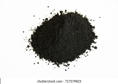 extreme close up of black pigment isolated over white background