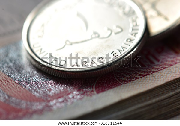An extreme close up and details of One UAE dirham coin.