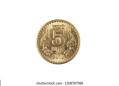 An extreme close up of an Indian five rupee coin on a solid white background