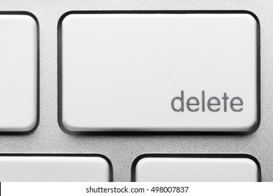 Extreme close up on computer keyboard Delete Key