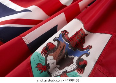 Extreme close up shot of wavy flag of Bermuda