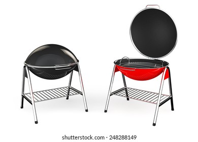 Extreme Closeup Barbecue Grills on a white background