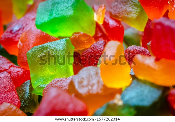 Extreme Closeup of a bunch of candied fruits or tutti frutti with selective focus