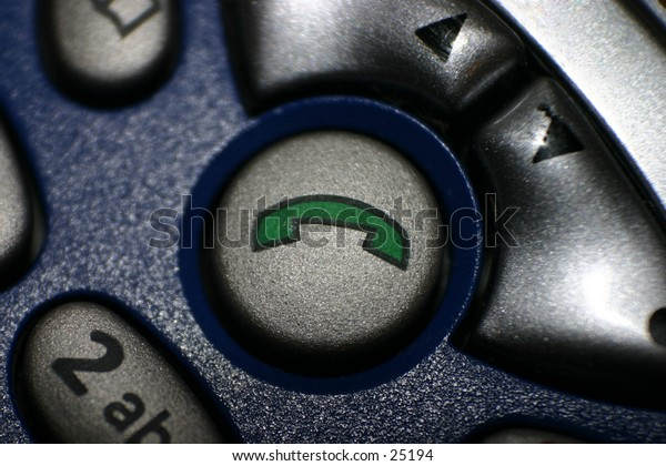 "extreme closeup of a ""call/answer"" button on a cell phone"