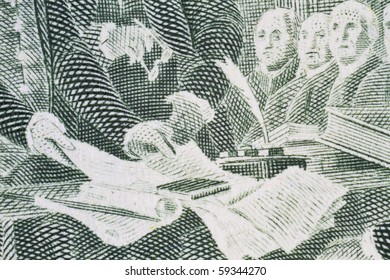 Extreme closeup of the Declaration of independence from the two dollar bill