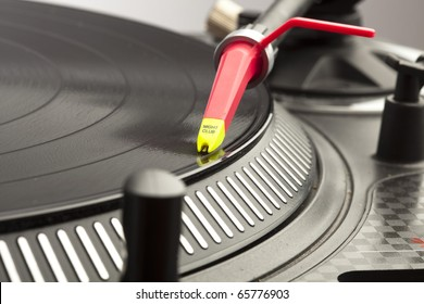 extreme closeup of a dj plate and