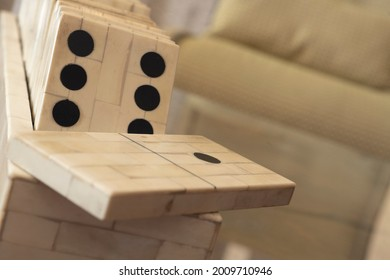 Extreme close-up of domino pieces