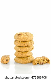 Extreme close-up image of chocolate chips cookies on white background
