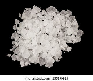 Extreme closeup of salt isolated on a black background