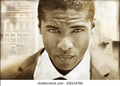 Extreme close-up of a serious young man in sepia tones with a vintage retro styling