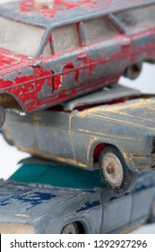 Extreme Close-up of three 1960s tin toy cars, made in Israel, Sabra firm