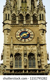 extreme closeup view on Vintage City hall (Rathaus) tower with clock in Munich, Germany.