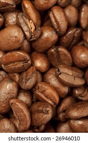 Extreme closeup view of roasted coffee beans