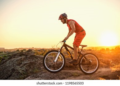 Extreme cycling, mountain biking on the rocks, free space. Active lifestyle, mtb.