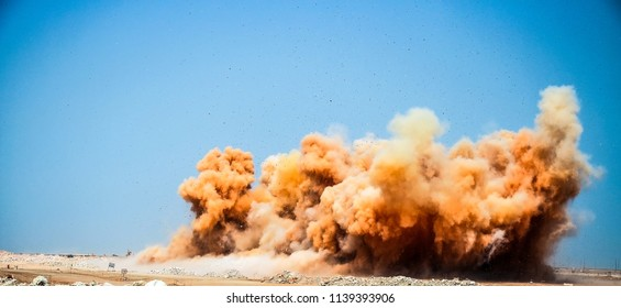extreme explosion on the construction site