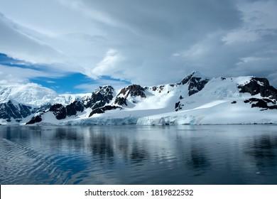 Extreme glacier covered landscape of Antarctica.