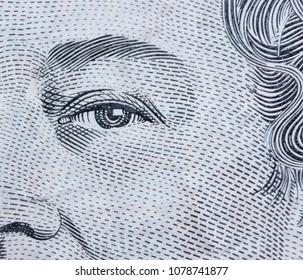 Extreme macro detail eye shot of 5 dollar Australian banknotes - australian five dollars note Elizabeth II portrait