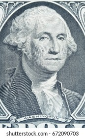 Extreme macro of George Washington portrait on 1 dollar bill. one dollas banknote.