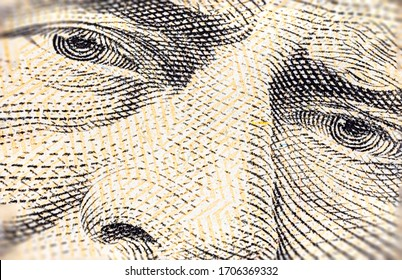 Extreme macro photography of a 50 US dollar banknote. Ultra close up of a fifty American dollar note. US dollar is the world currency.  Portrait of Ulysses Grant on the front of the paper banknote.