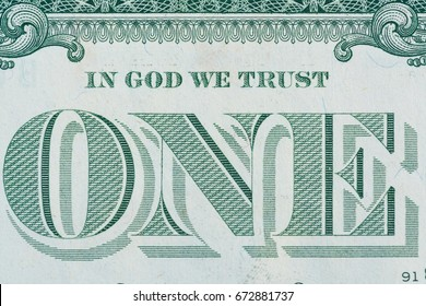 Extreme macro shot : In God We Trust Motto on the reverse of a 1 US Dollar Bill