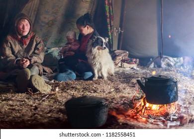 The extreme north, Yamal, the pasture of Nenets people, the dwelling of the peoples of the north, the yurt, artistic toning, noise,