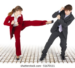 Extreme office quarrel men and women with use of force