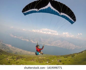 extreme paraglider point of view