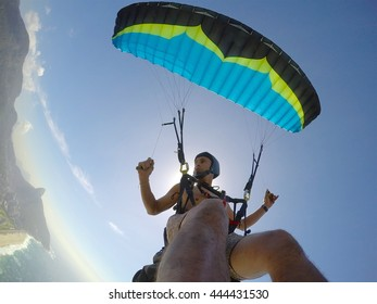 Extreme paragliding point of view