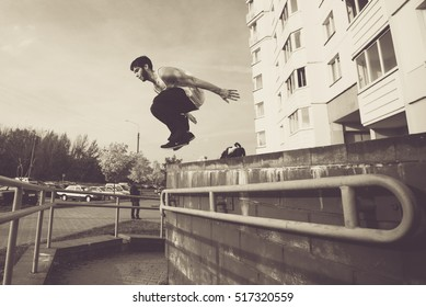 extreme Parkour training in an urban environment