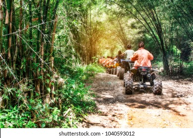 Extreme rider get ready to Journey through the jungle with Off-road atv car .
