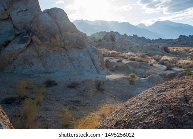 extreme rocky terrain Alabama Hills Sierra Nevada mountains of California