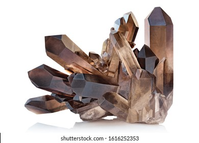 Extreme sharp and detailed closeup macro of amazing glassy Smoky Quartz Crystal mineral stone cluster isolated on white background.  Natural pure translucent black/dark brown shiny specimen of crystal